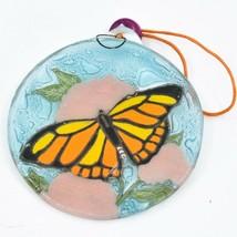 Monarch Butterfly Fused Art Glass Ornament Sun Catcher Handmade Ecuador image 2