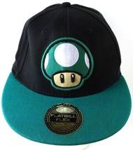 Nintendo 1UP Mushroom Cap Hat Super Mario Flatbill Flex Black 1 Up - $18.99