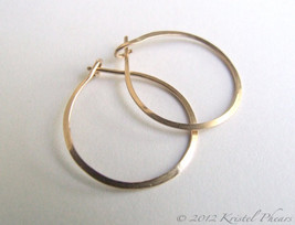Gold Hoops - tiny hoop earrings 14k gold-filled basic lightly hammered 1... - $16.00