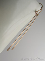 Long Gold Bar Earrings  - 14k gold-filled dangle earrings simple elegant... - $35.00