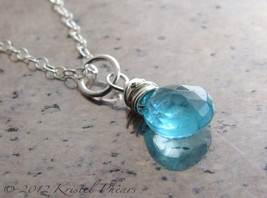 Natural Apatite Necklace - large paraiba blue gemstone in sterling or go... - $36.00