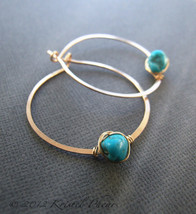 Turquoise earrings - genuine Arizona turquoise hoop earrings gold silver... - $40.00