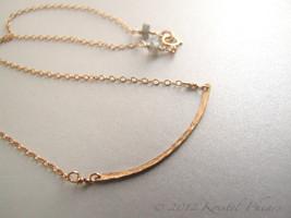 Hammered Gold Bar Necklace - simple elegant minimalist, original handmad... - $30.00