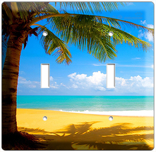 Exotic Palm Tree On A Paradise Sandy Beach Double Light Switch Wall Plate Cover - $9.99