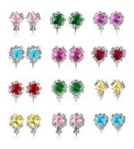 PinkSheep Diamond Earrings for Kids, Baby Birthstone Earrings, 12 Pairs,... - $17.42