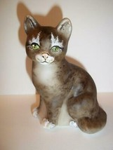 Fenton Glass Natural Brown Tabby with Boots Sitting Cat GSE Ltd Ed M Kib... - $174.12