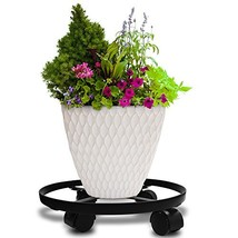 "14"" Metal Plant Caddy Heavy Duty Iron Potted Plant Stand With Wheels Rou... - $20.74"
