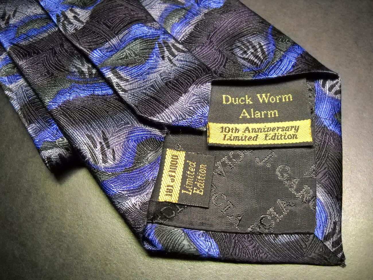 J Garcia Neck Tie Duck Worm Alarm 10th Anniversary Blues and Greys