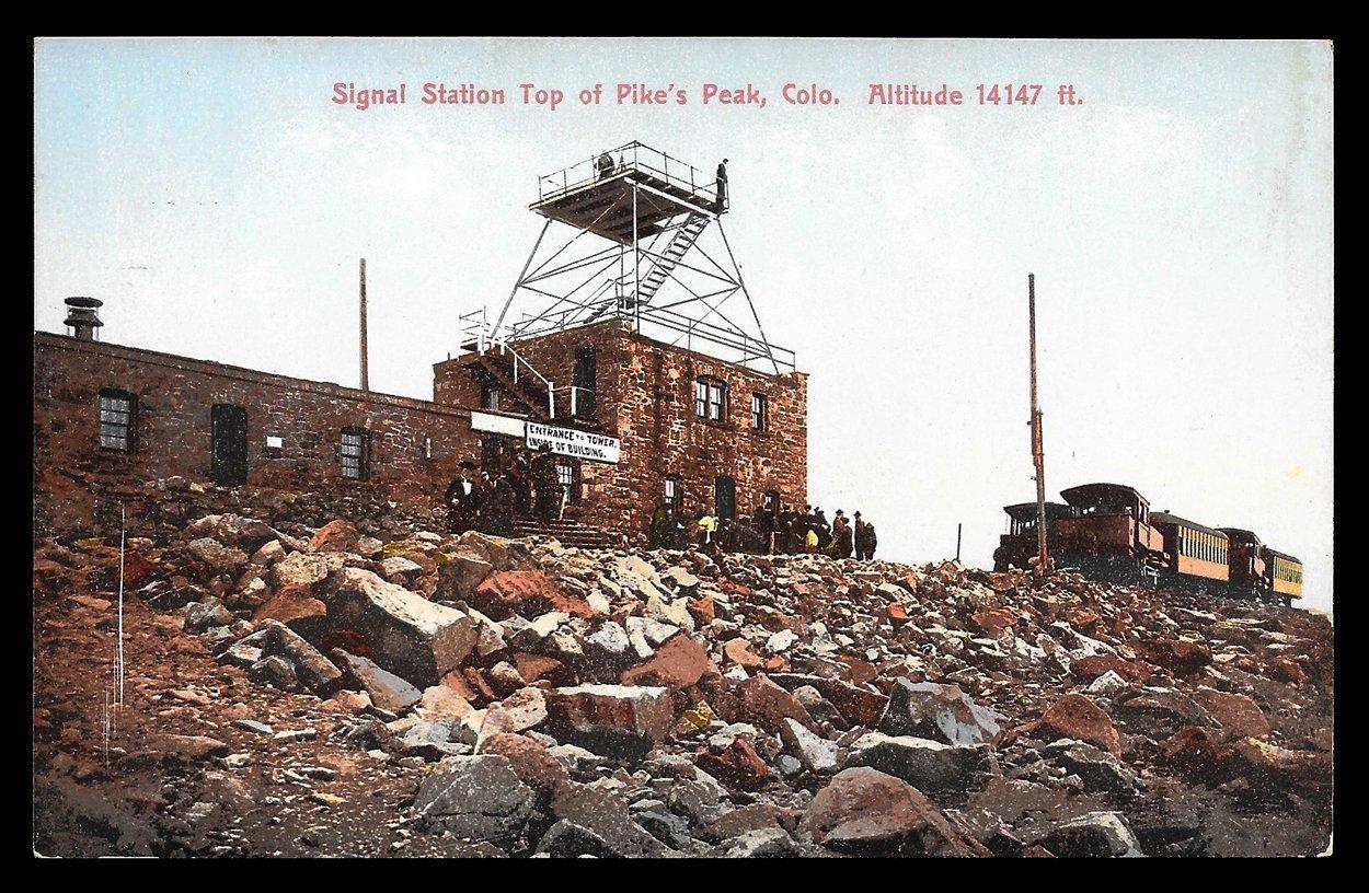 Signal Station Postcard Colorado Pike's Peak Platform Sign Visitors Train CO PC