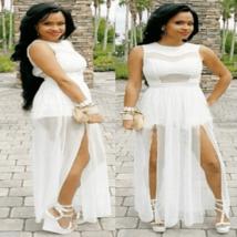 Sexy White Mesh Double Slit Maxi Dress - $32.00