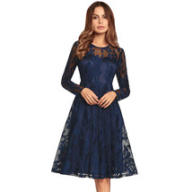 AOVEI Navy Blue Lace Long Sleeve A Line Office Party Sexy Pleated Swing Dress - $29.99