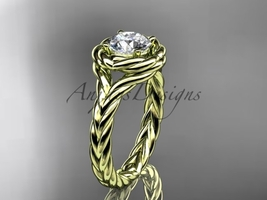 Rope engagement ring, 14kt yellow gold twisted rope engagement ring RP8201 - $775.00