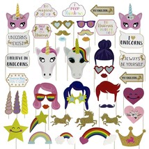 Unicorn Rainbow Pegasus Photo Booth Prop Girl Birthday Party Supplies De... - $16.73 CAD