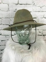 DPC Mens One Sz Hat Brown Extra Wide Brim Panama Ventilated Safari W/ Ch... - $35.73