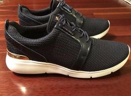 NWB Michael Kors Amanda Trainer Mesh Embossed-leather Admiral Blue Shoes sz 9.5 - $129.99