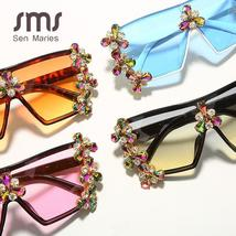 Oversized Colorful Diamond Sunglasses Women Luxury Fashion One Piece Square Sung image 5