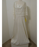 Vintage 70's White Accordion Pleated Sleeveless Lace Caplet Bias Cut Sid... - $449.99