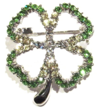 Clover Pin Brooch Four Leaf Crystal Green Multicolor Irish Luck Prong Set - $21.99