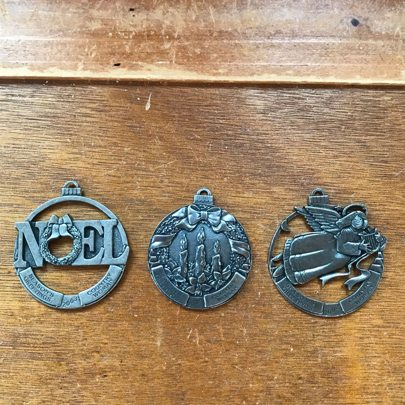 Lot of 3 Country Woman NOEL Three Candles in Wreath HARP PLAYING ANGEL Pewter Ch