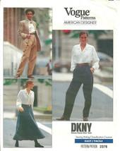 Vogue 2376 DKNY Donna Karan Pattern Pleated Pants & Flared Skirt Size 6 ... - $9.99