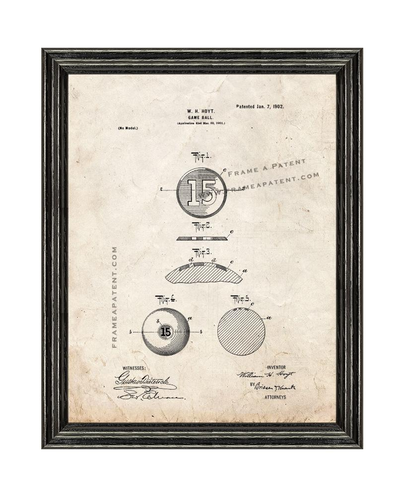 Primary image for Game-ball Patent Print Old Look with Black Wood Frame