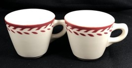 Set of 2 Shenango China Red Laurel Floral Coffee Cups Transfer Restauran... - $19.79