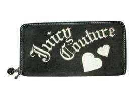 JUICY COUTURE Long CLUTCH WALLET Black PRINCESS Gem HEARTS Zip-Around OR... - $33.55