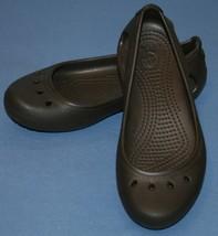 Crocs Marron Mary Jane Style Sz 5 Femmes Glissières Chaussures Eau Sandales - $23.54