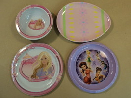 Trudeau Kid Plates Bowl Lot of Four Multicolor Barbie Tinkerbell Easter ... - $17.87