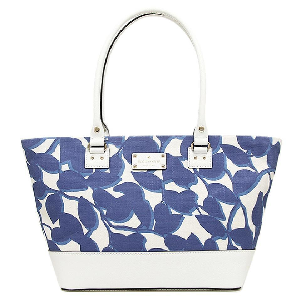 02b4a9cfe6 Kate Spade Harmony Wellesley Leaves Fabric   Leather Tote NWT -  149.00