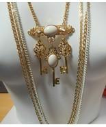 Long Multi Layered Chain 3 Key Pendant Necklace - $24.75