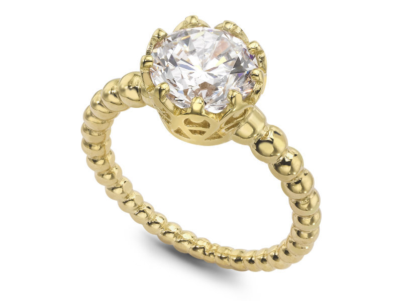 Beaded Solitaire Engagement Ring 14k Yellow Gold Plated 925 Silver Round Cut CZ