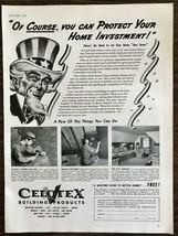 1942 Celotex Building Goods Wartime Ad Uncle Sam Don't Let Your Home Det... - $11.89