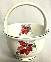 Block Bernardo Christmas Poinsettia Handle Basket Ceramic Goertzen Portu... - $15.79