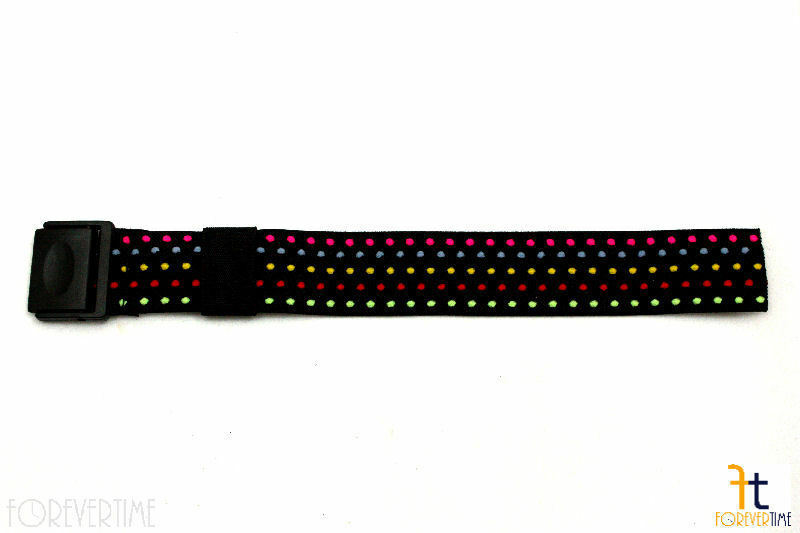 Stretch for Pop Swatch Black Rainbow Polka Dots Watch Band Strap - $16.15