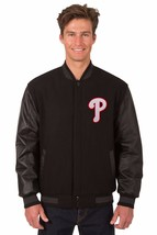Philadelphia Phillies Wool & Leather Reversible Jacket with Embroidered ... - $249.99