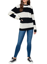 Women's Oversized Long Sleeve Colorful Chunky Knitted Casual Pullover Sweater image 12