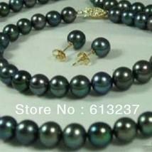 Free shipping 7-8mm light black cultured freshwater round pearl diy natu... - $20.48