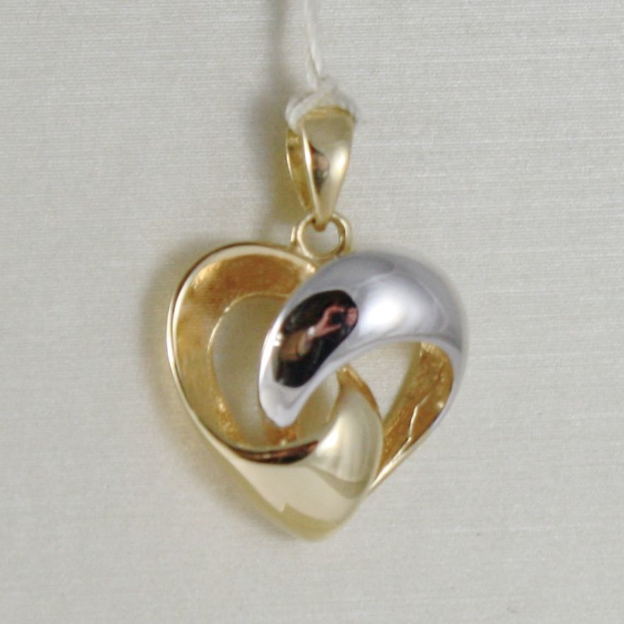 18K WHITE YELLOW GOLD HEART PENDANT WORKED HUG EMBRACE SMOOTH MADE IN ITALY