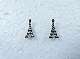 Vintage Metal Eiffel Tower Stud Earrings Silver Tone 1970s Paris France ... - $11.88