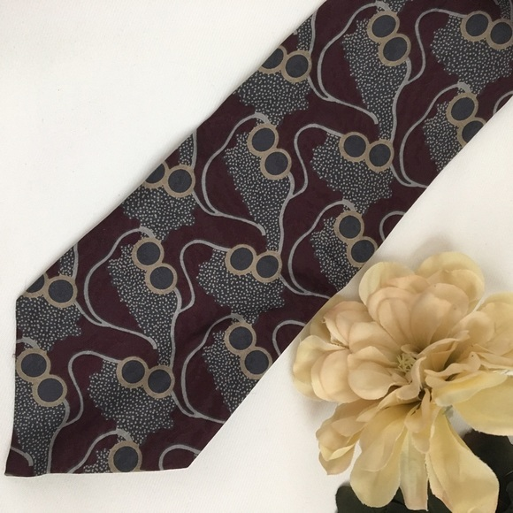 Primary image for Giorgio Armani Burgundy & gray Print men's silk business tie