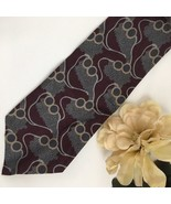 Giorgio Armani Burgundy & gray Print men's silk business tie - $34.95