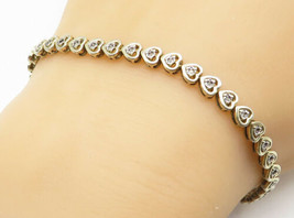 925 Silver - Vintage Petite Genuine Diamonds Love Heart Chain Bracelet -... - $37.49