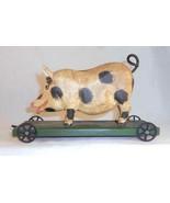 Hand Carved & Painted Wood Hog or Pig Folk Art Pull Toy Walter & June Gottshall - $177.00