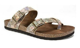 Women's White Mountain Gracie Molded Footbed Sandals Leather Brown Multi... - $31.49