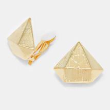 Earrings Pyramid Shaped  Clip Gold Tone Fashion Jewelry - $5.89
