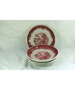 Jackson China 1962 Red Willow Restaurant Ware Set Of 4 Saucers - $6.29
