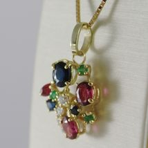 18K YELLOW GOLD FLOWER NECKLACE DIAMOND SAPPHIRE RUBY EMERALD MADE IN ITALY  image 3