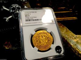 """PERU 1712 DOUBLE DATE 8 ESCUDOS NGC 61 """"1715 FLEET SHIPWRECK"""" GOLD DOUBL... - $28,500.00"""