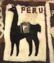 Dark brown alpaca motive carpet from Peru, 90 x 60 cm - $184.50